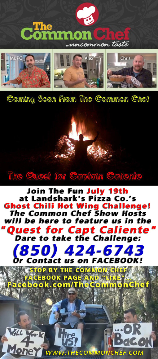 july ghost chili hot wing challenge at landsharks pizza destin featured on the common chef tv show
