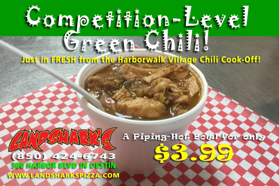 Landsharks Competition-Level Green Chili Destin Sports Bar Restaurant