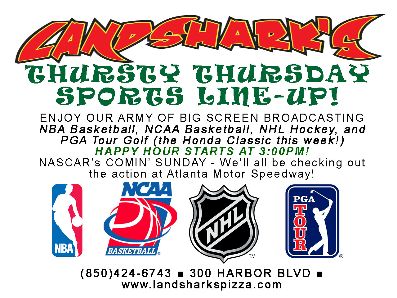 Landsharks Destin Sports Bar Restaurant THURSDAY Lineup