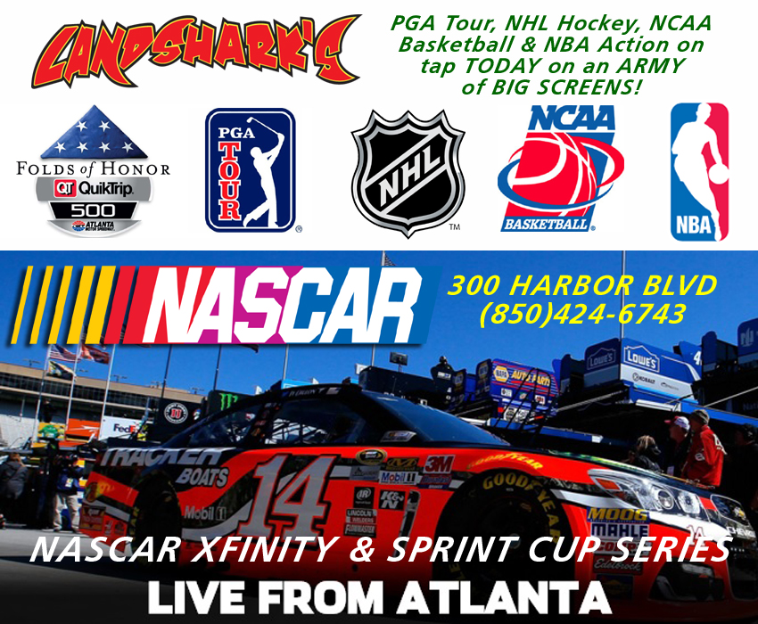 Landsharks Destin Sports Bar showing NASCAR Atlanta Motor Speedway
