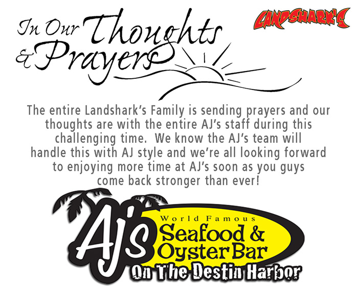 Landsharks Pizza of Destin FL Sends Prayers for AJs after fire