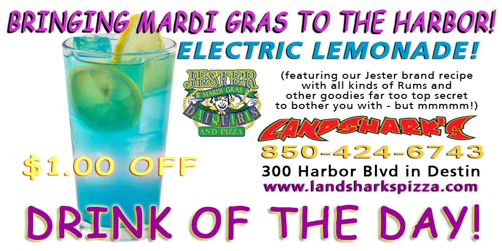 Landsharks of Destin FL Sports Bar - JESTER ELECTRIC LEMONADE Drink of the Day