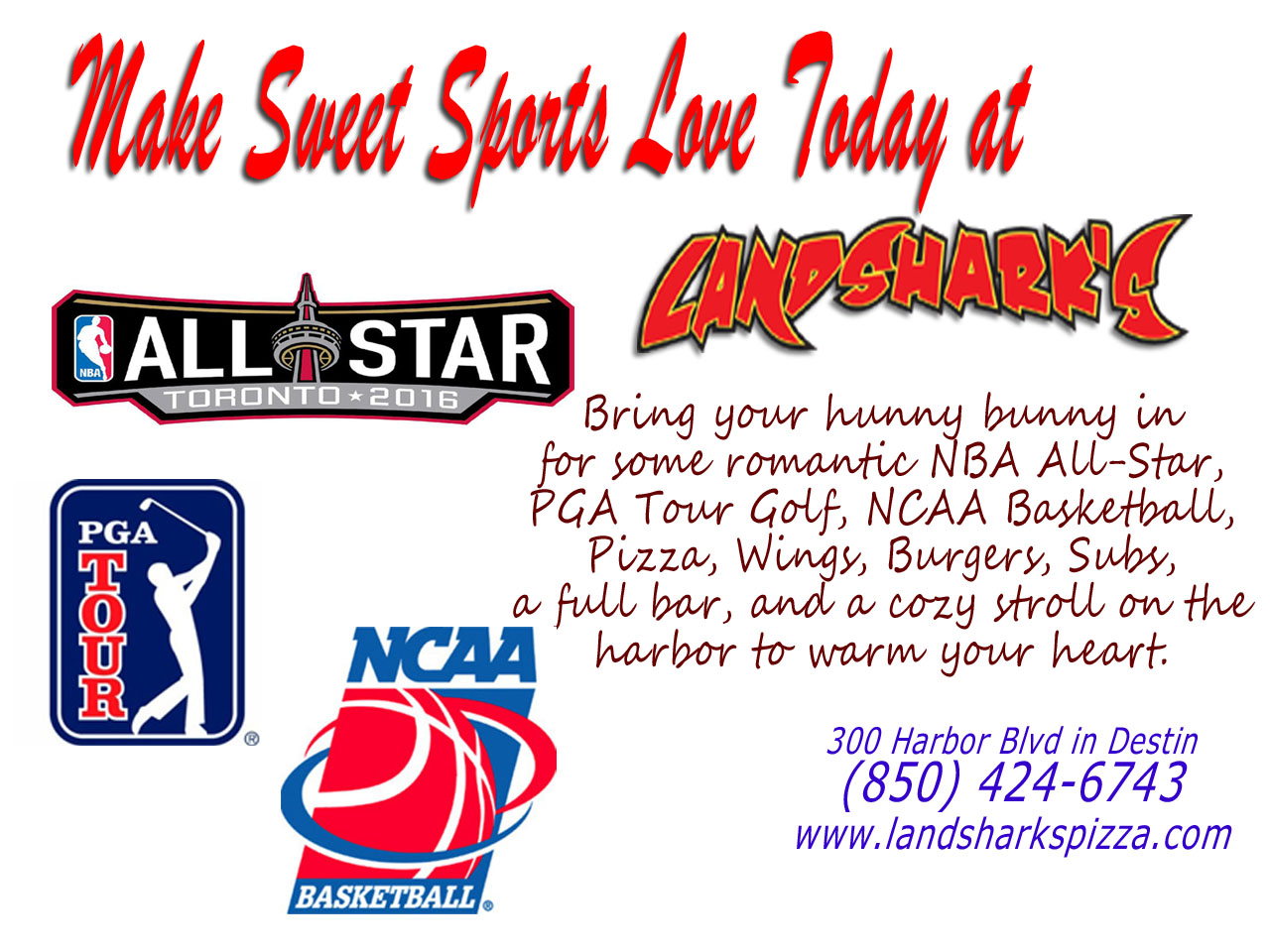 Valentines Day Sports at Landsharks Pizza and Sports Bar Destin FL