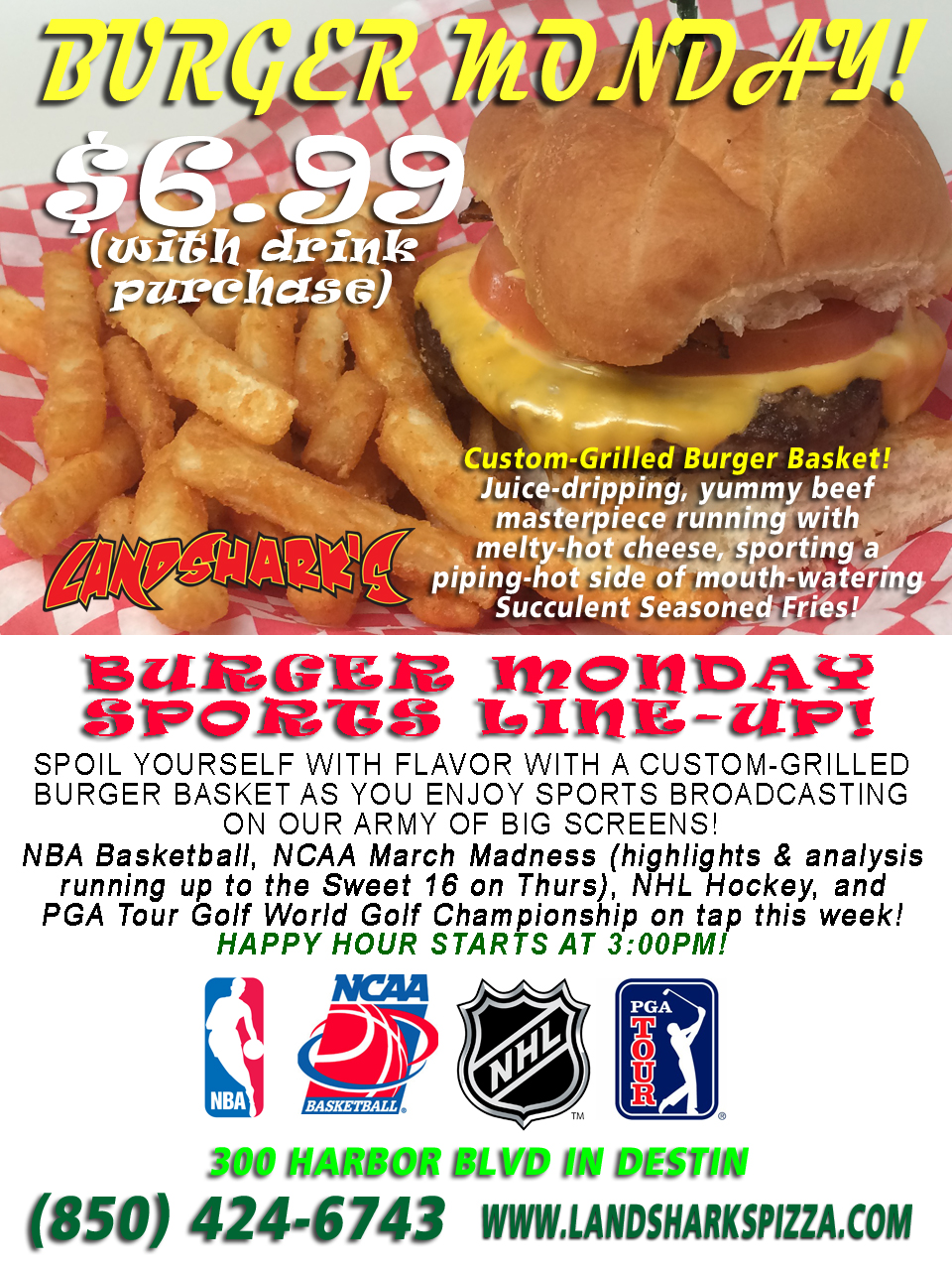 Burger Monday at Landshark's Pizza and Wings in Destin FL 3-21-16
