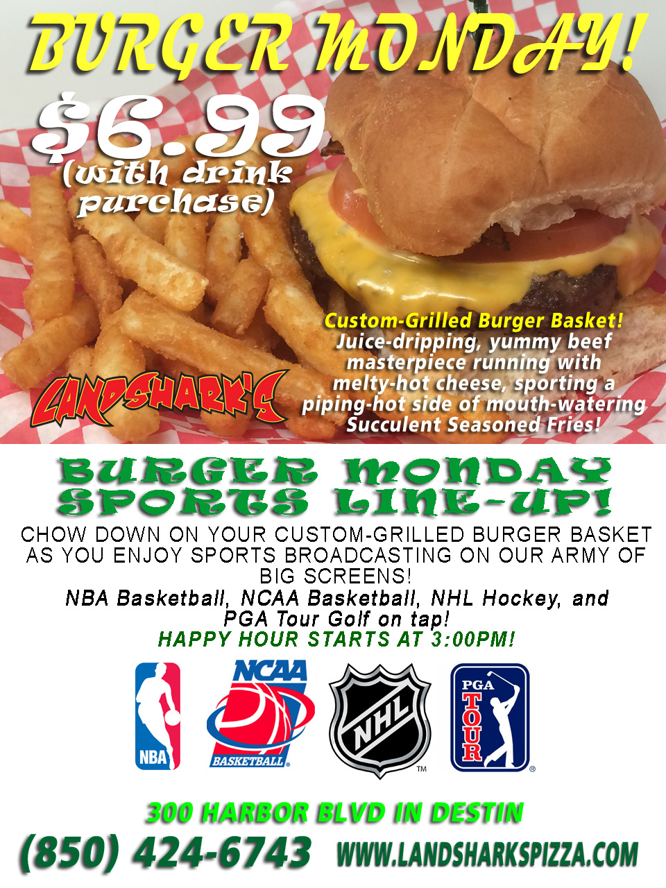 Burger Monday at Landsharks Pizza and Wings in Destin FL