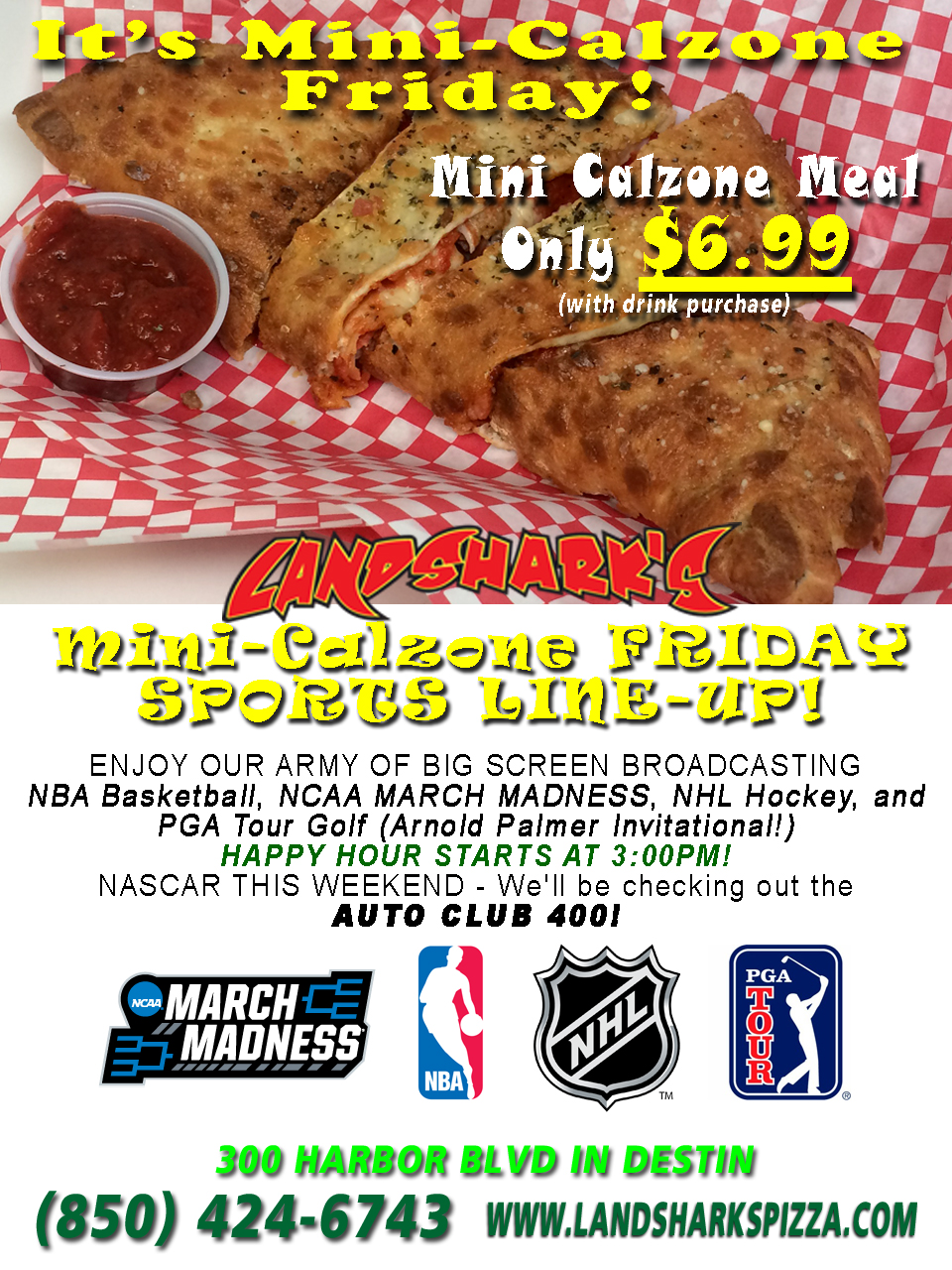 Landsharks Destin FL Mini Calzone Friday Special