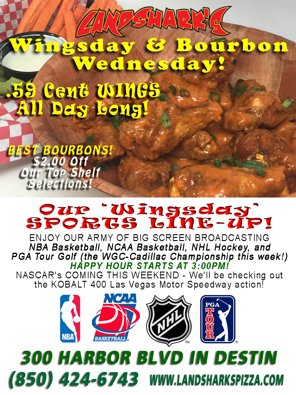 Landsharks Destin FL Hot Wing Wednesday 59 Cent Wings