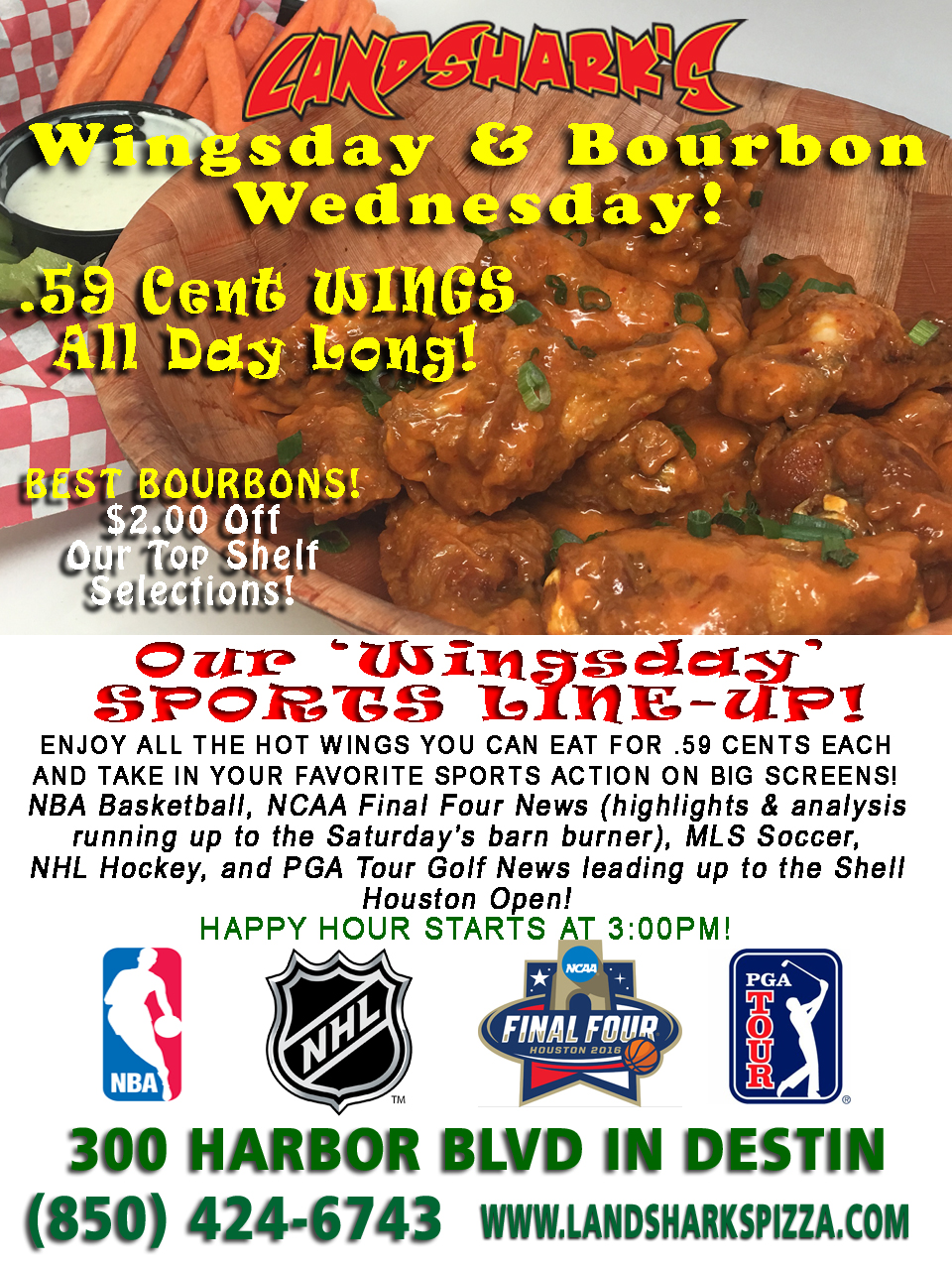 Landsharks Destin FL Pizza Wingsday Wednesday