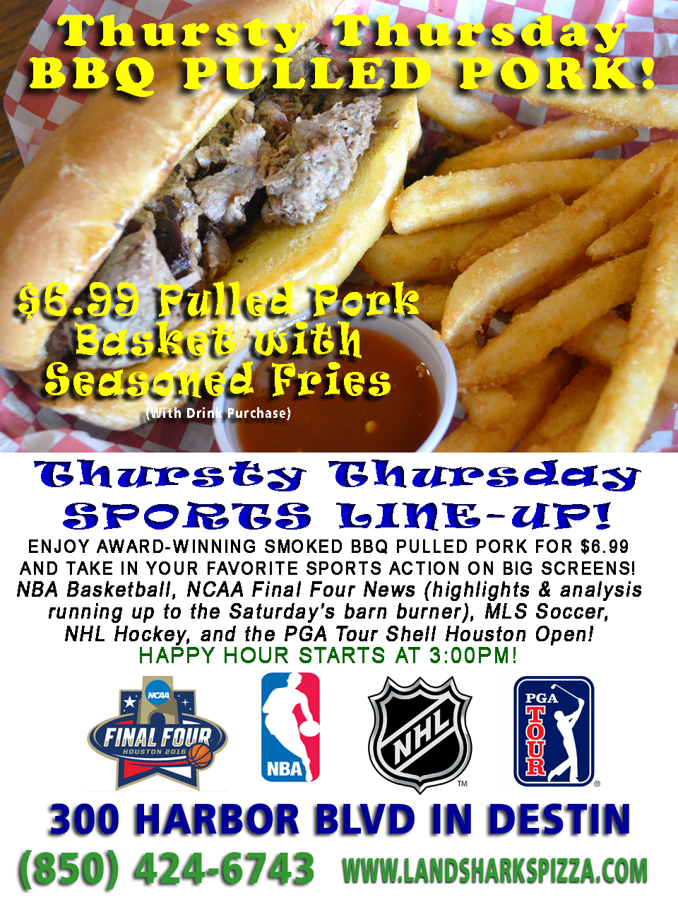 Landsharks Destin Smoked BBQ Thursday Special