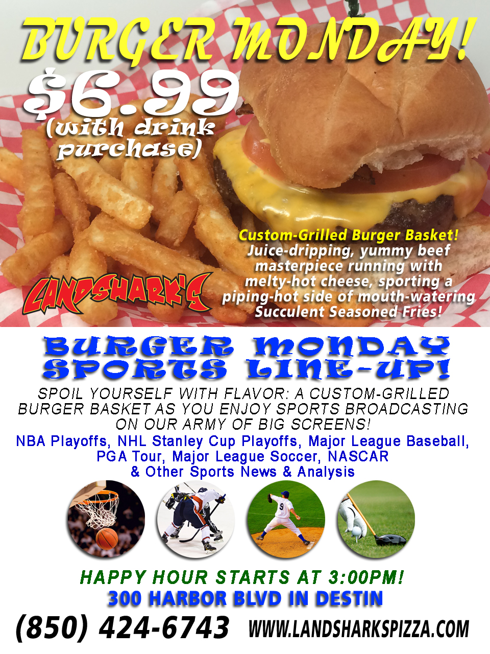 Best Burgers in Destin FL at Landsharks Burger Monday Special