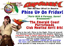 Destin FL Parrothead Meeting April 8th at Landsharks Pizza