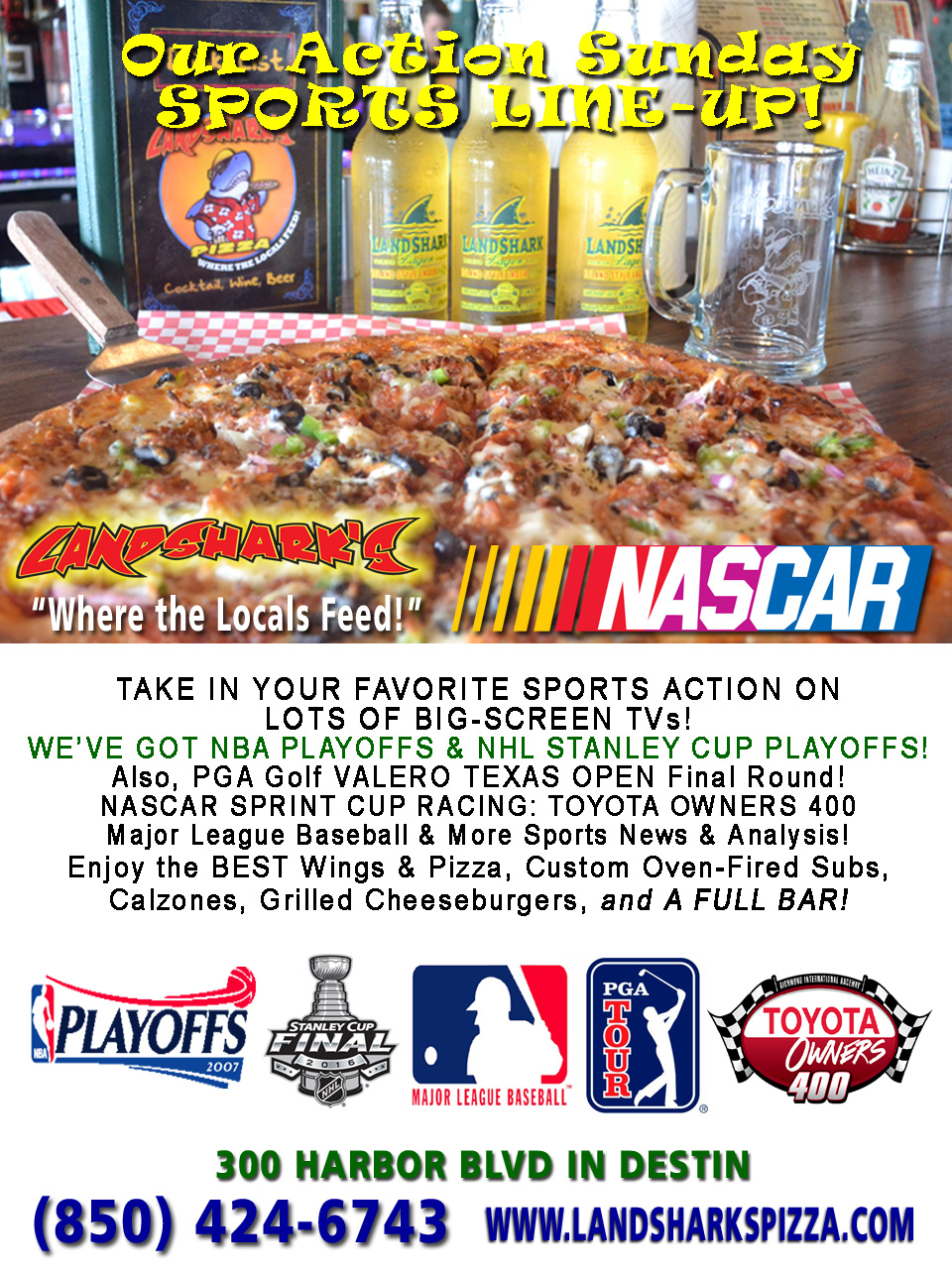 Destin FL Sunday Sports Action at Landsharks Pizza Company