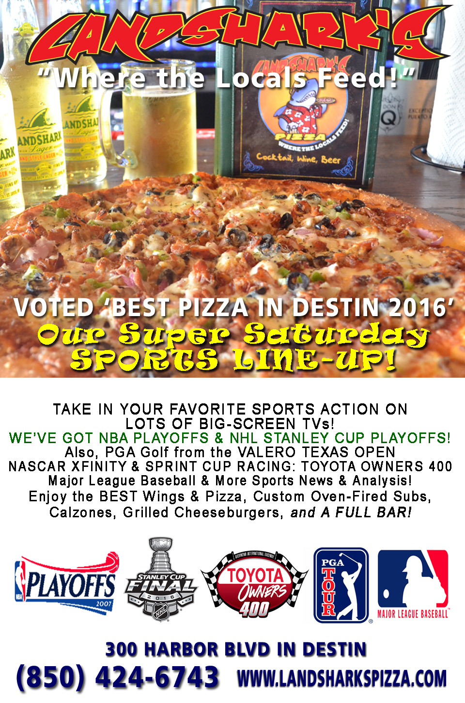 Destin Sports Bar Restaurant Landsharks Pizza Saturday Sports Lineup