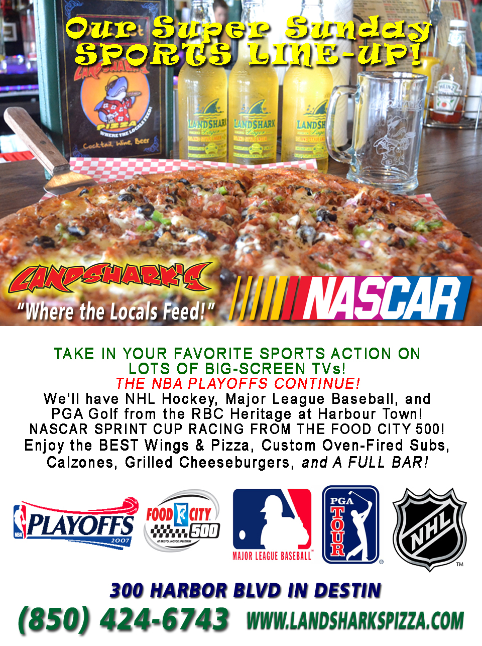 Landsharks Destin Pizza Sunday Sports Lineup