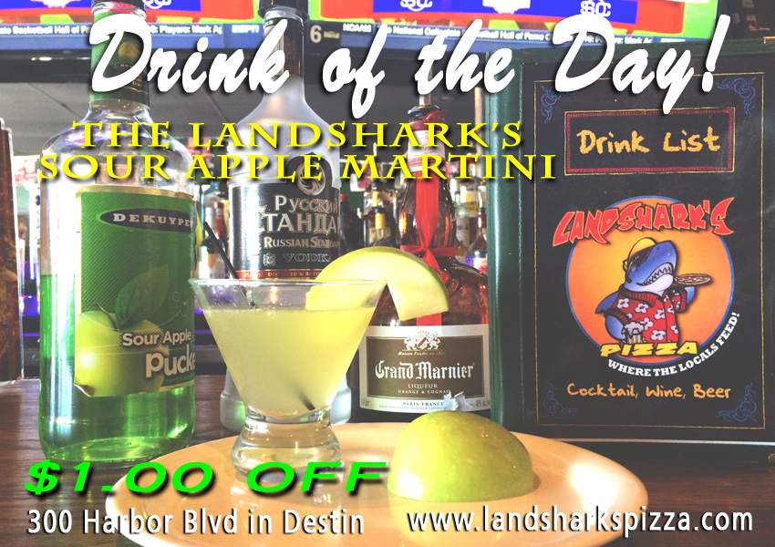 Landsharks Pizza and Wings Drink of the Day - Sour Apple Martini