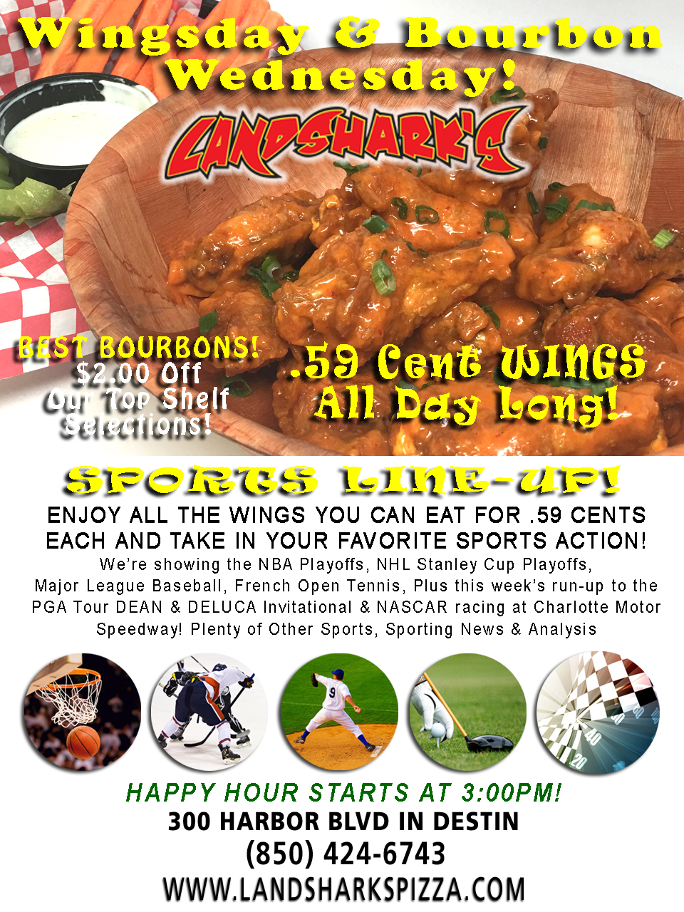 Best Buffalo Hot Wings in Destin FL at Landsharks Sports Restaurant