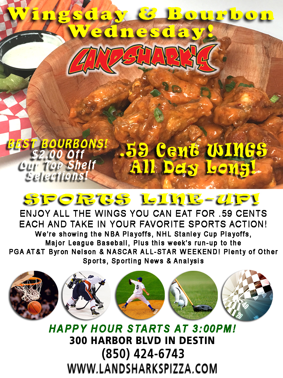Best Buffalo Hot Wings in Destin FL on Special at Landsharks