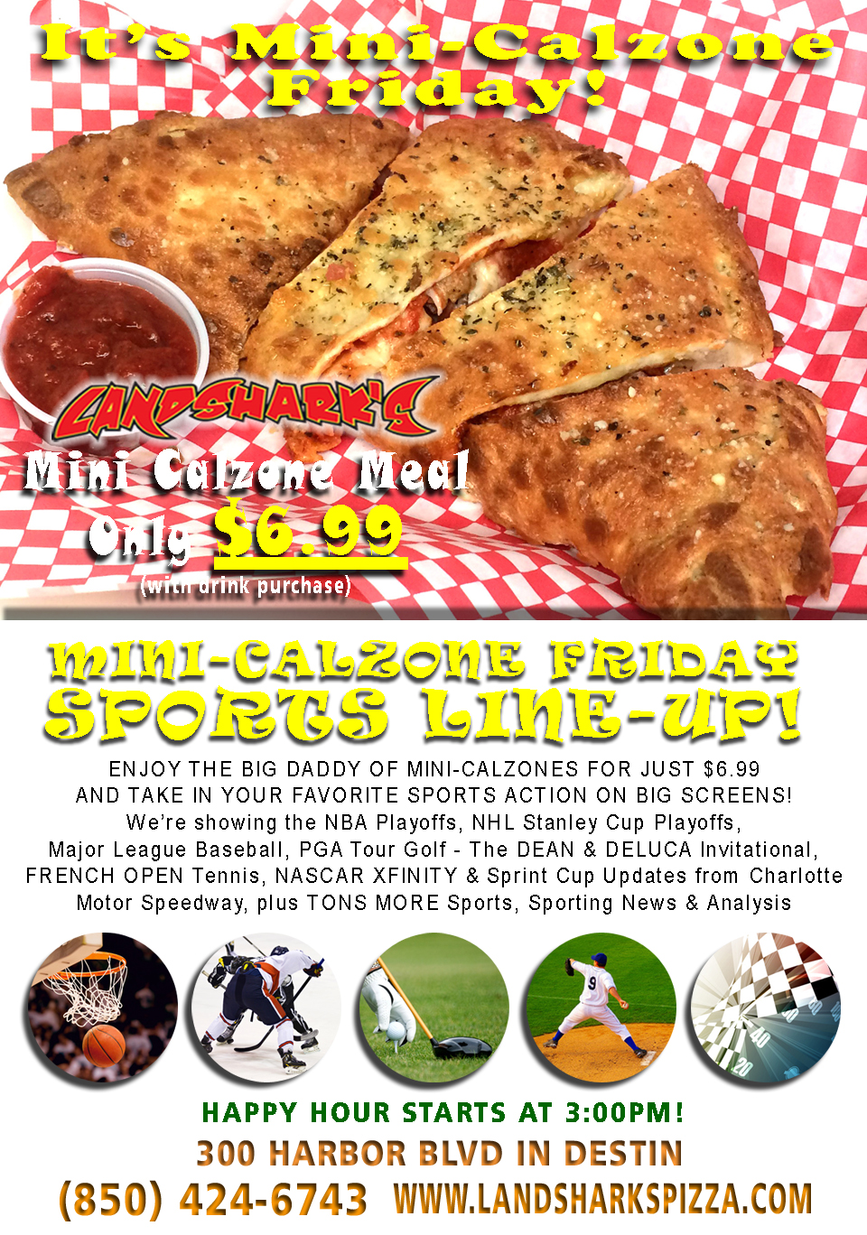 Best Calzones in Destin at Landsharks Pizza co Sports Drinks Fun