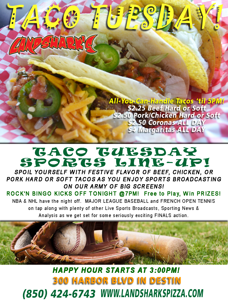 Destin FL Taco Tuesday at Landshark's Pizza and Wings