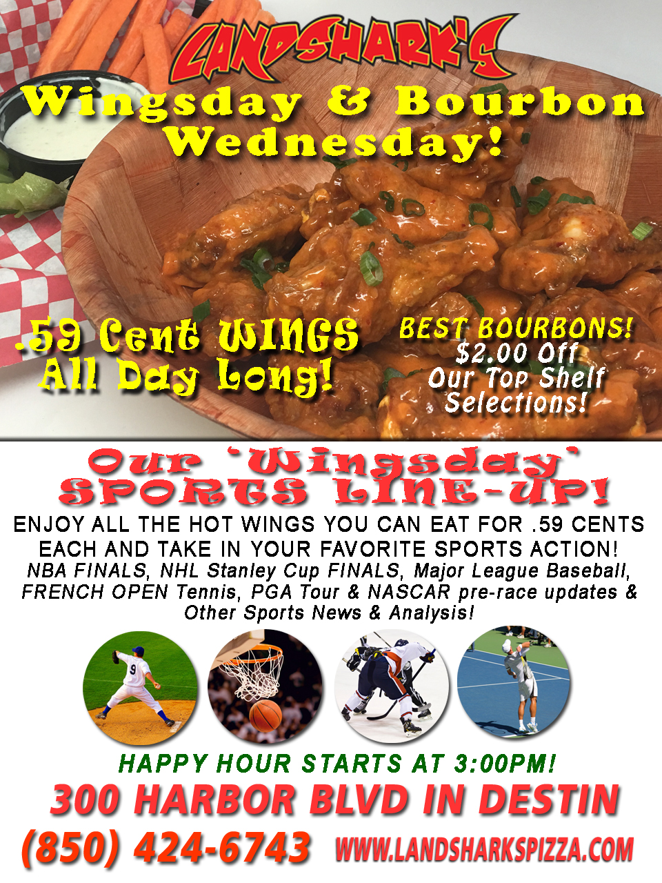 Best Buffalo Hot Wings in Destin FL - Wednesday Wing Special at Landsharks Pizza Co