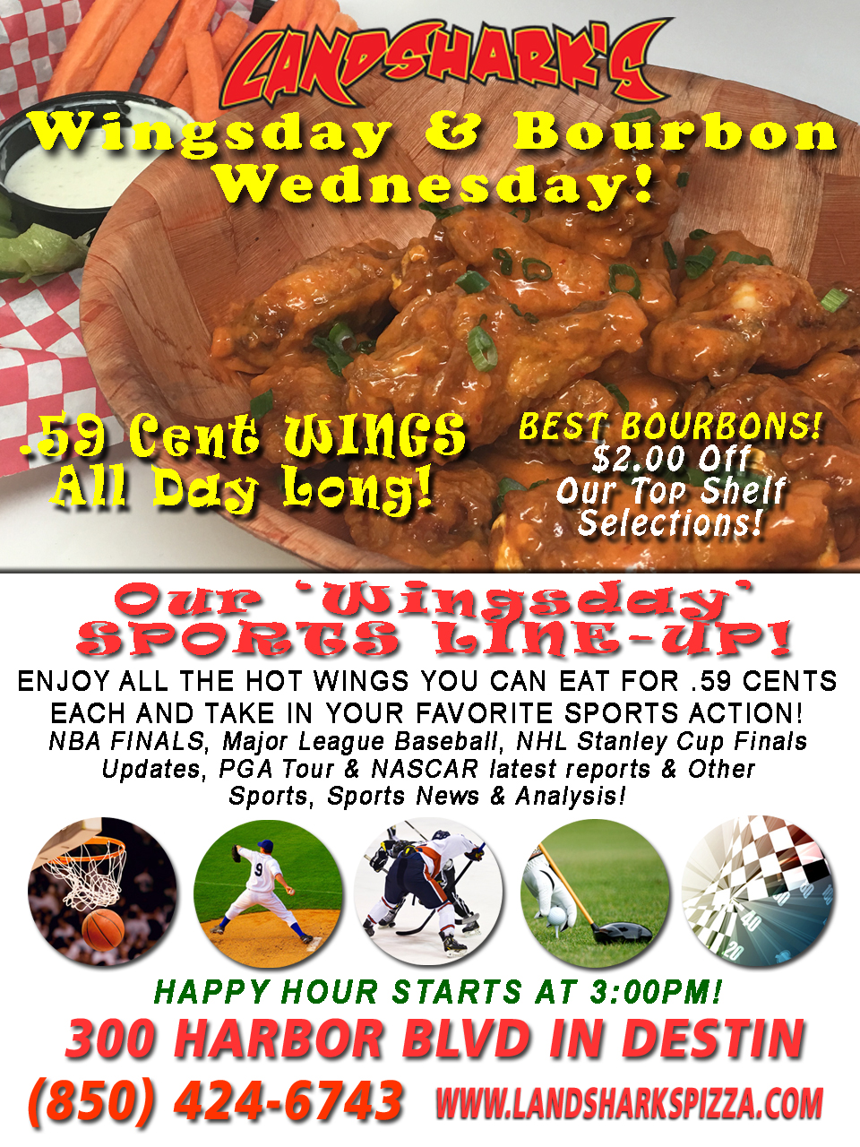Best Hot Wings Buffalo Wings in Destin Florida at Landsharks