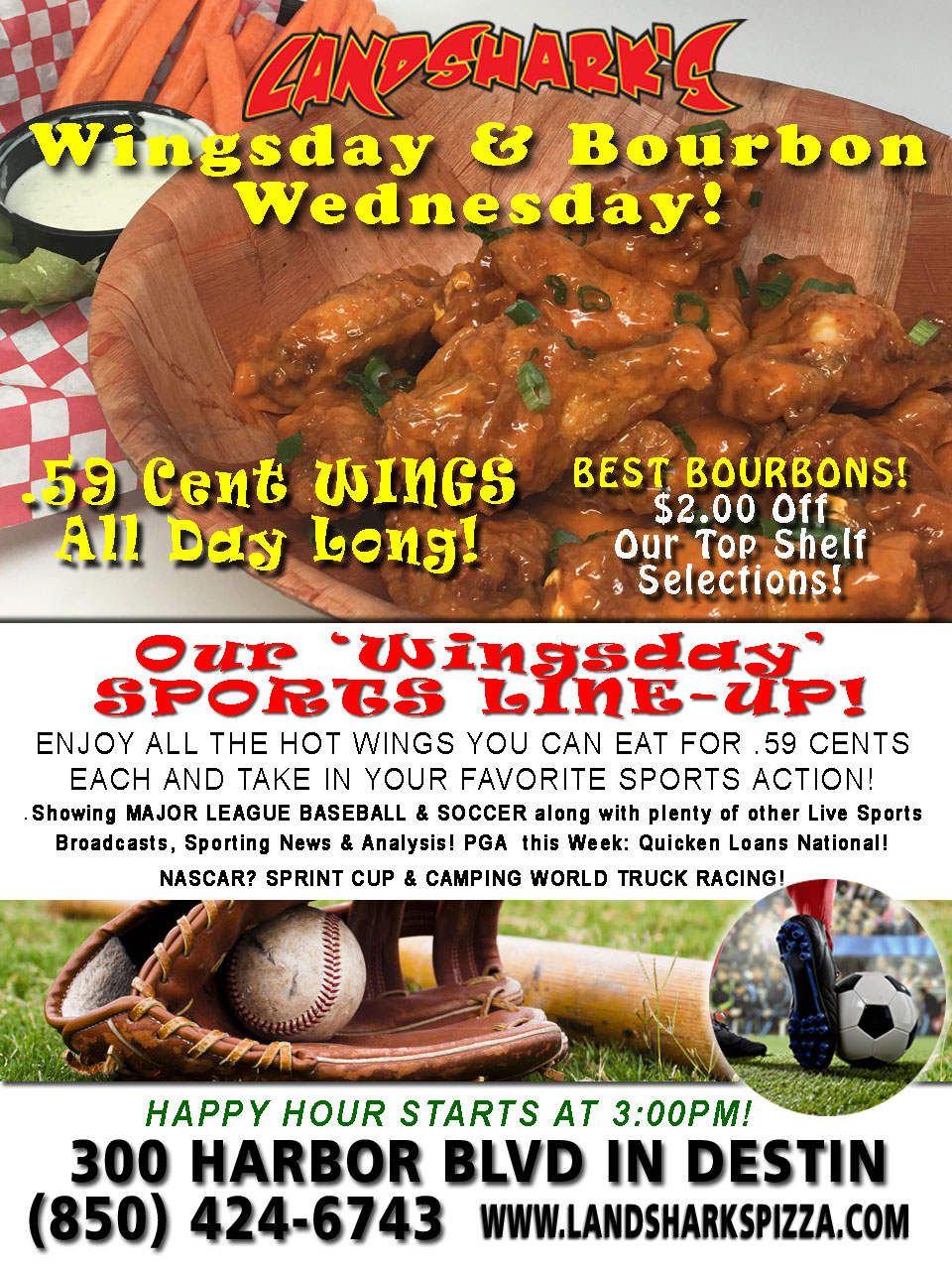 WINGSDAY – 59-Cent Wings ALL DAY TODAY! $2 Off ALL Top Shelf Bourbons & FREE SUNSHINE!