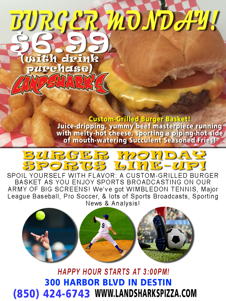 Burger Monday at Landshark's Pizza and Wings in Destin Florida