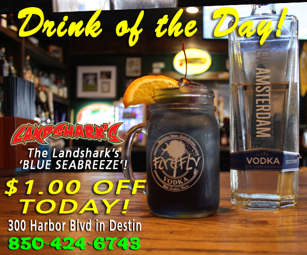 Destin FL Adult Cocktails Sports Bar Landsharks Pizza Blue Seabreeze