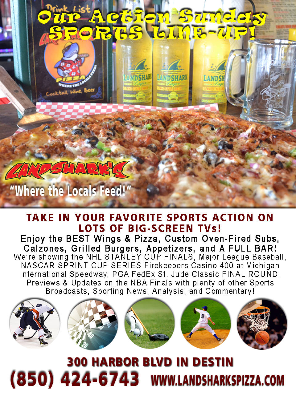 Destin Sports Restaurant Bar Sports TV Landsharks Pizza