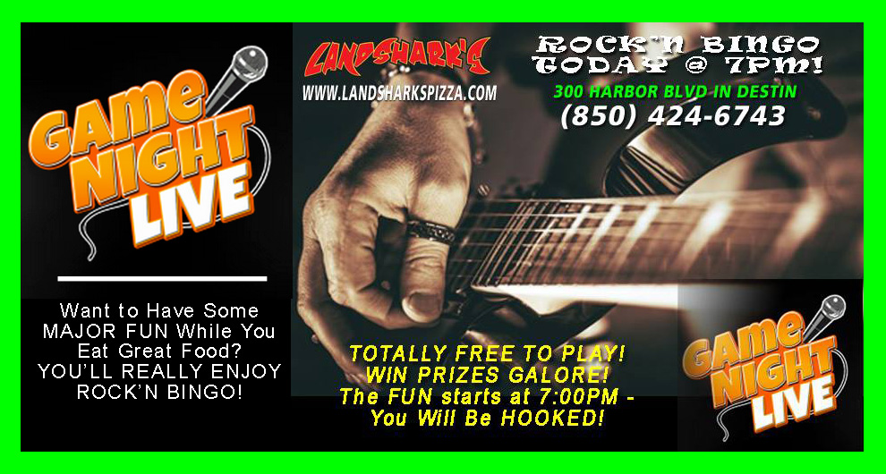 Rockn Bingo in Destin FL at Landsharks Pizza Co