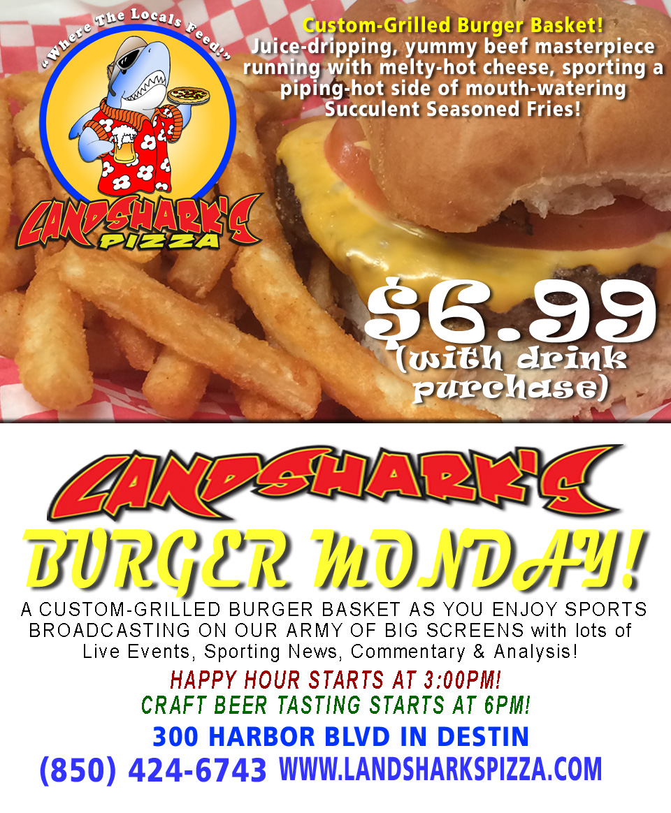 Best Burger Cheeseburger Destin FL Landsharks Pizza Co