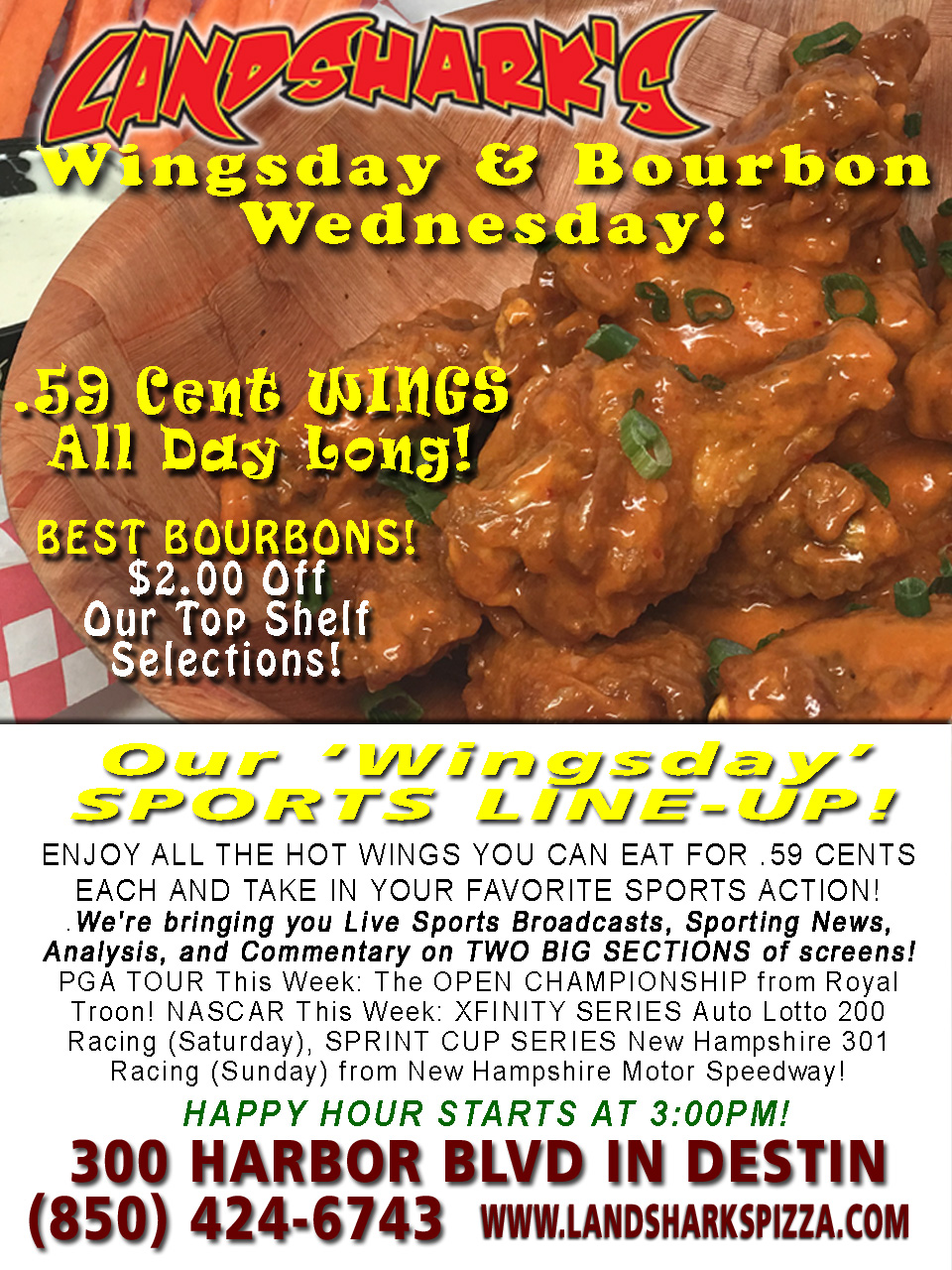 Destin FL Buffalo Hot Wing Special 59 Cent Wing Landsharks