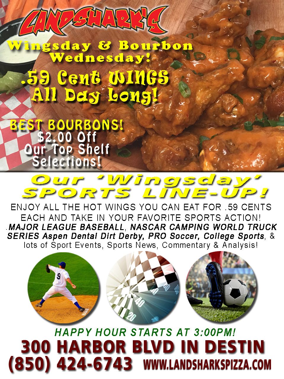 Destin FL Buffalo Hot Wings Landsharks WINGSDAY
