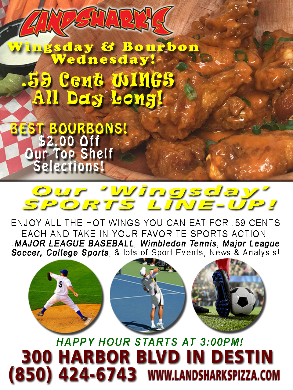 Destin FL Buffalo Hot Wings Special Landsharks Wing Wednesday