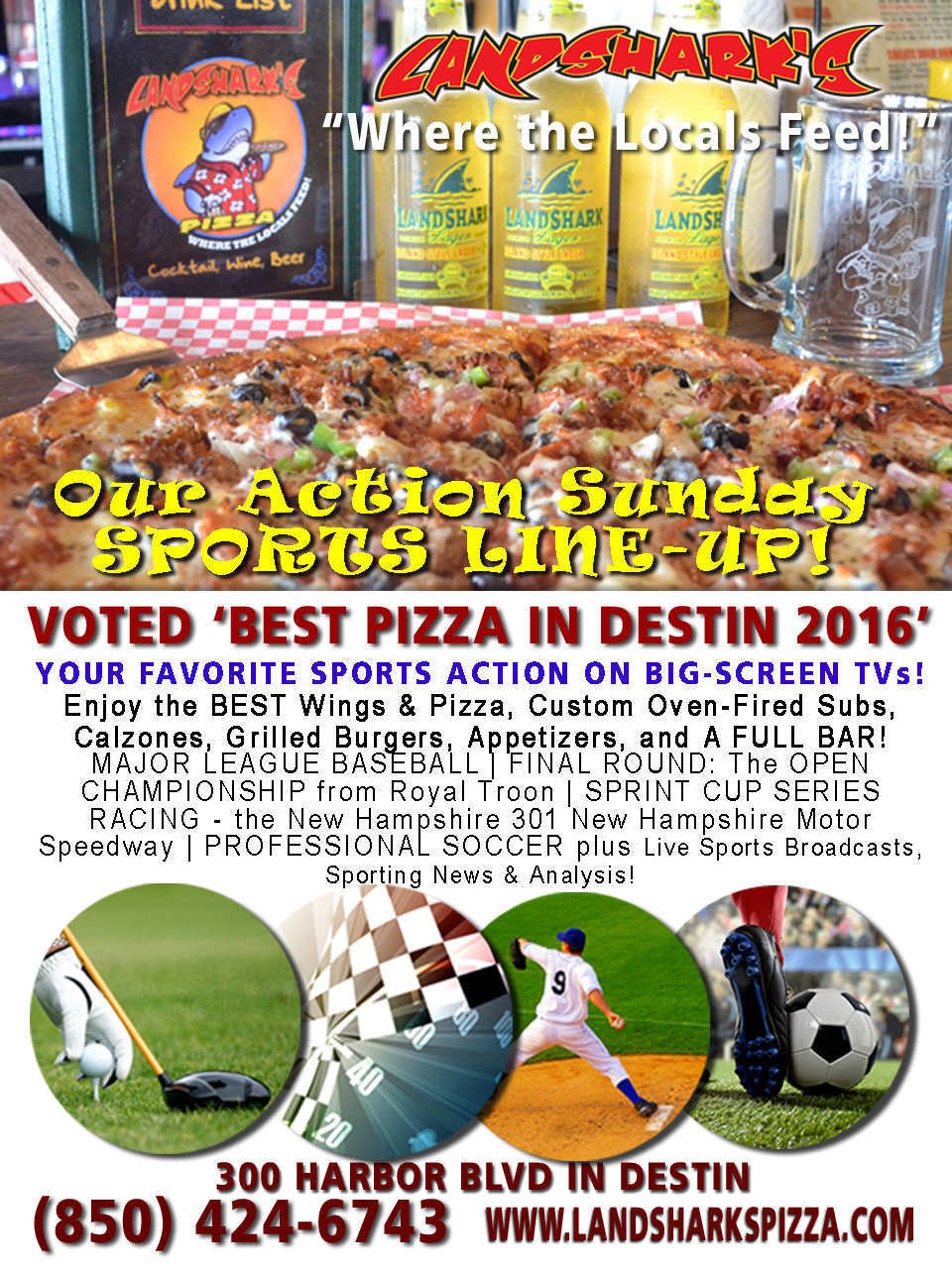 Destin FL Sports TV Landsharks Pizza Co