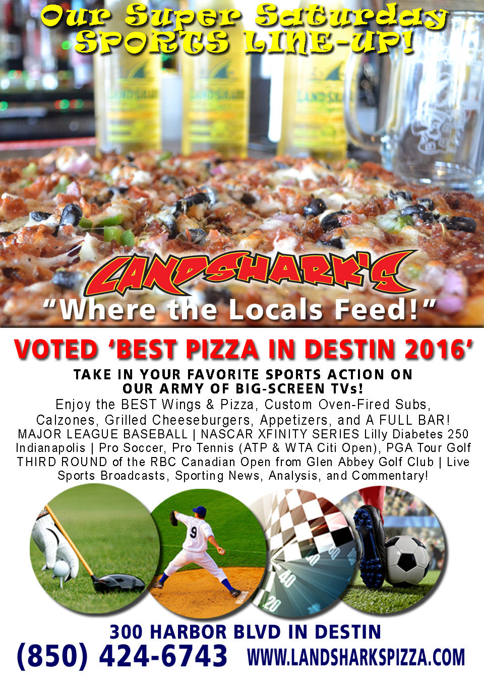 Destin FL Sports TV Pizza Wings Cocktails Landsharks Pizza Co