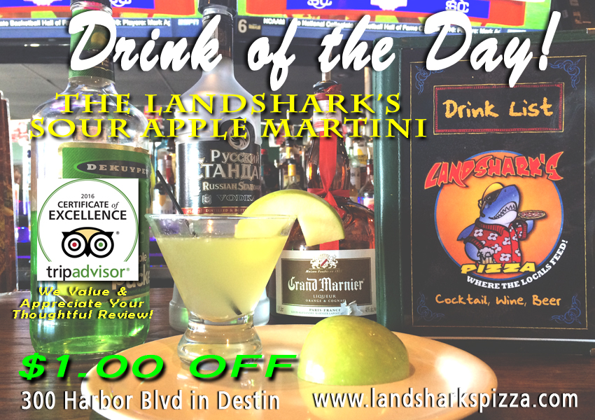 Landsharks Pizza Drink of the Day Sour Apple Martini