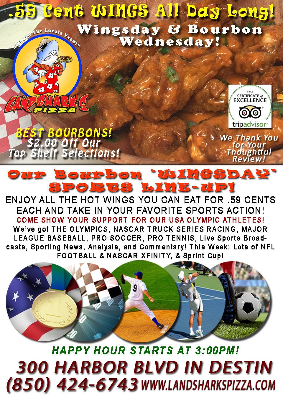 Award-Winning Wings in Destin FL only 59 Cents Wingsday Landsharks Pizza