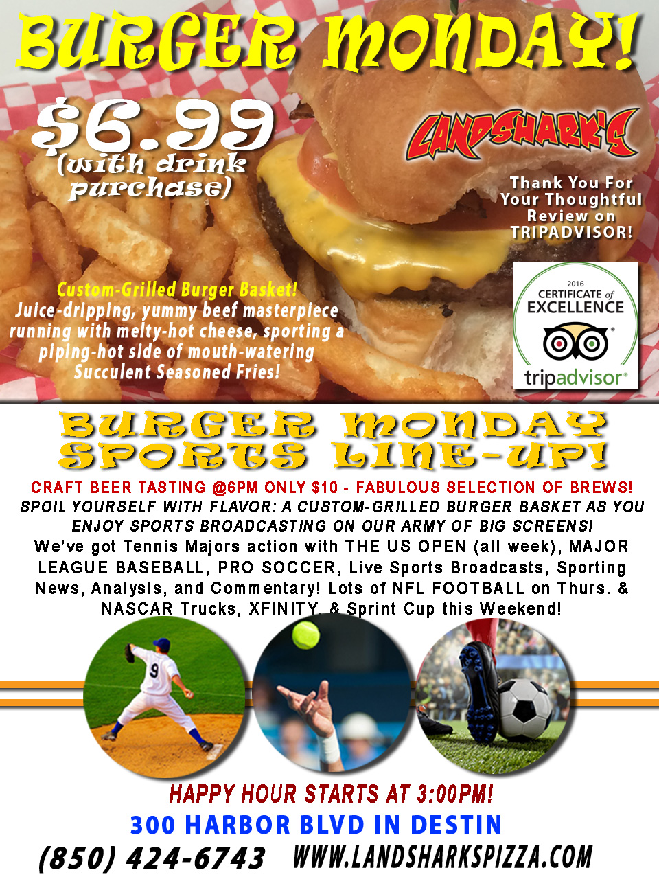 Burger Craft Beer Monday at Landshark's in Destin Florida