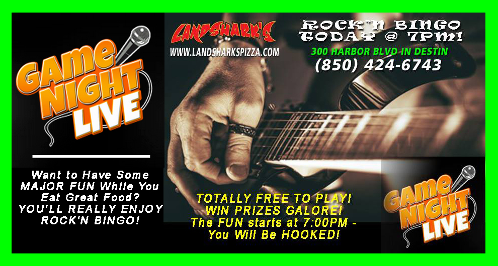 Desitn Rock'n Bingo at Landsharks Free to Play Win Prizes