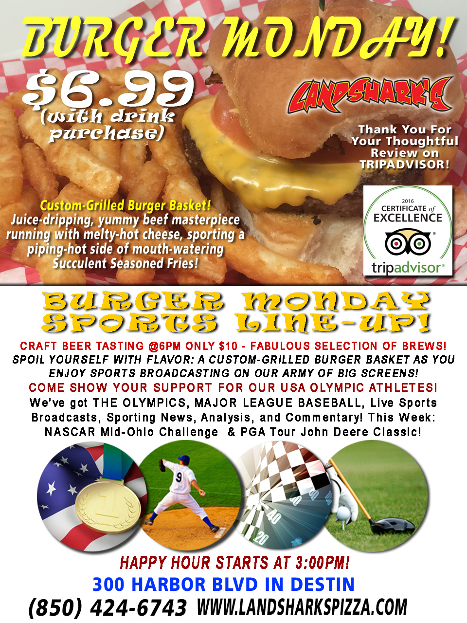Destin FL Burger Craft Beer Monday at Landshark's Pizza