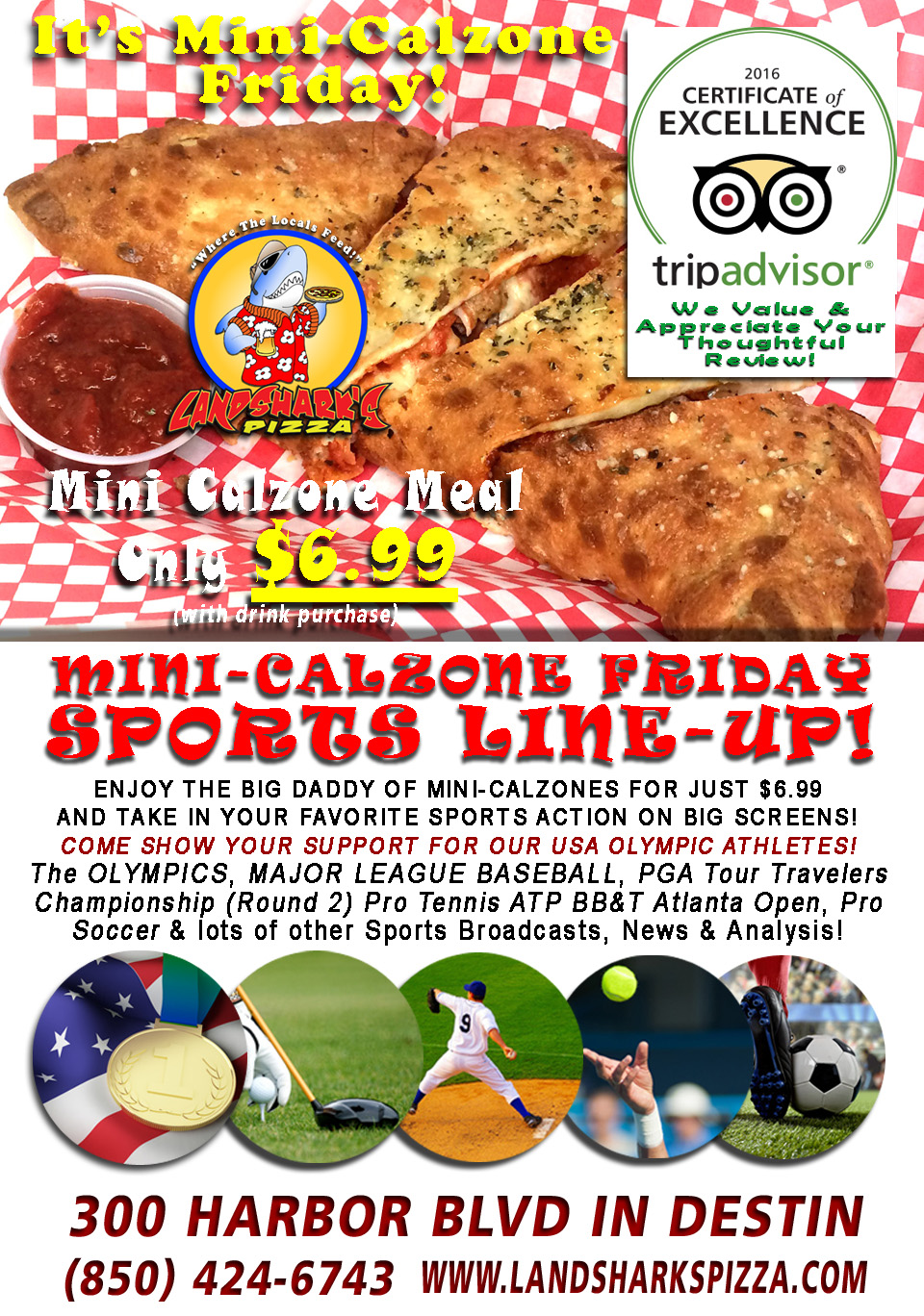 Destin FL Calzones Award-Winning Pizza Landsharks