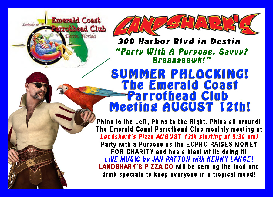 Destin FL Parrothead Meeting at Landsharks Pizza 08-12-16