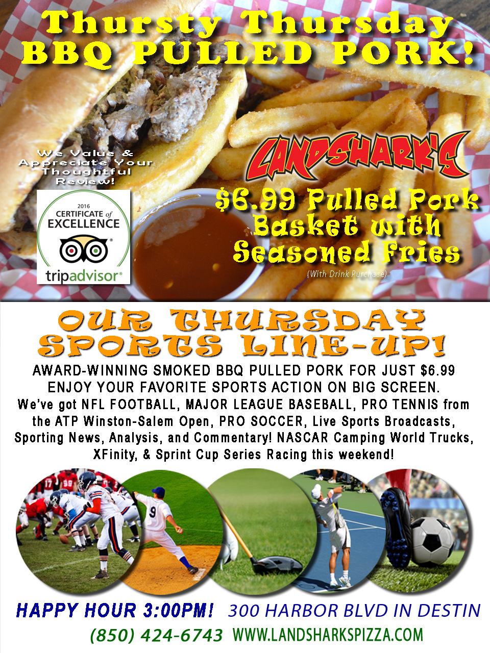 Destin FL Smoked BBQ Pulled Pork Basket Special Thursdays Landsharks 08-25-16