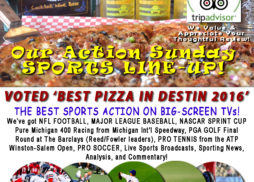 Destin FL Sports TV Food Cocktails Landsharks Pizza Co