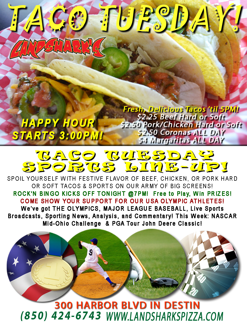 Destin FL Taco Tuesday at Landshark's Pizza