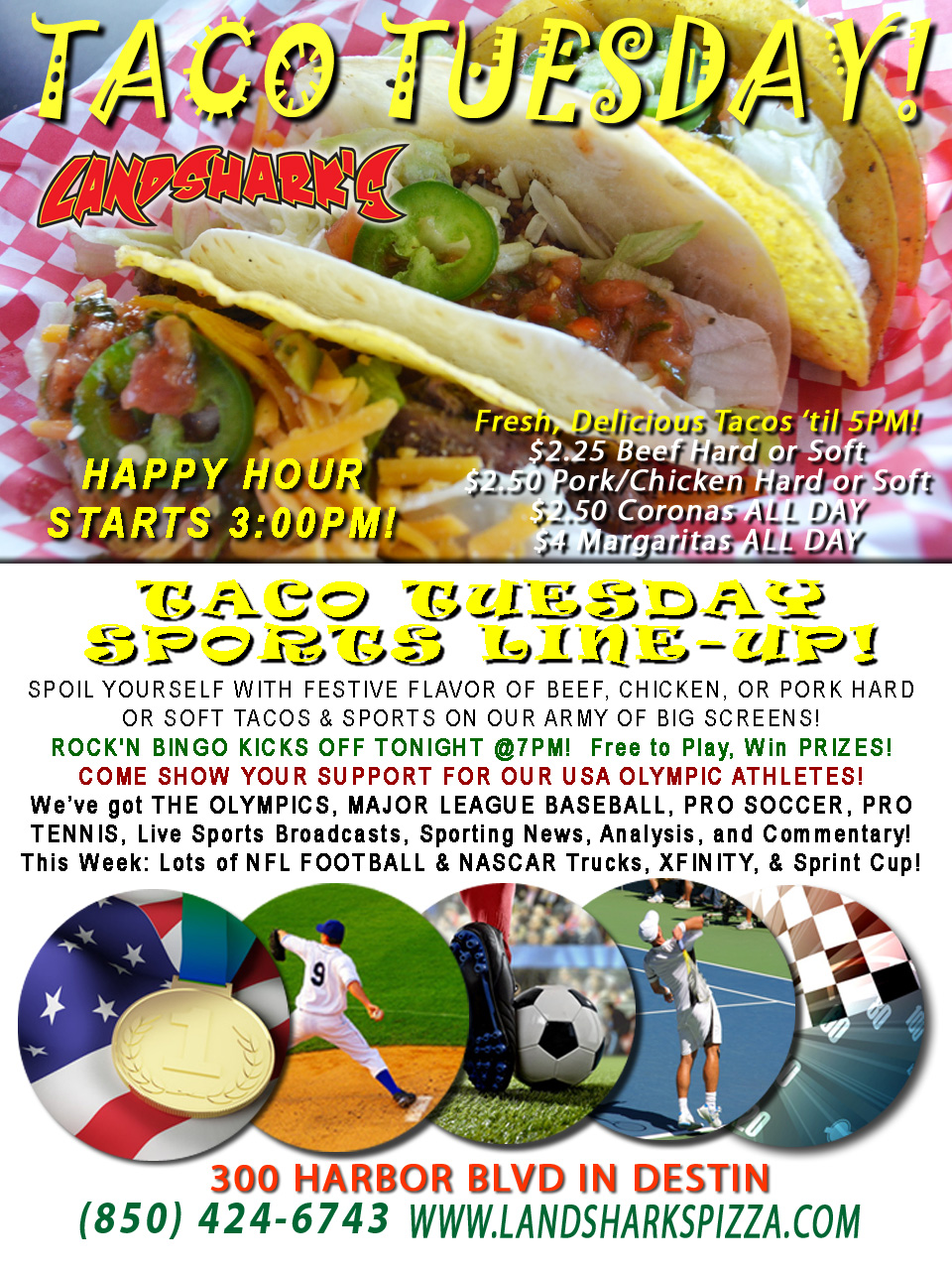 Destin FL Taco Tuesday at Landshark's Pizza 08-16-16