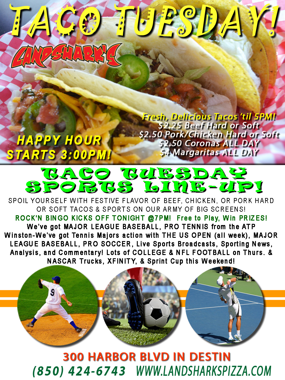 Destin FL Taco Tuesday at Landshark's Pizza 08-30-16a