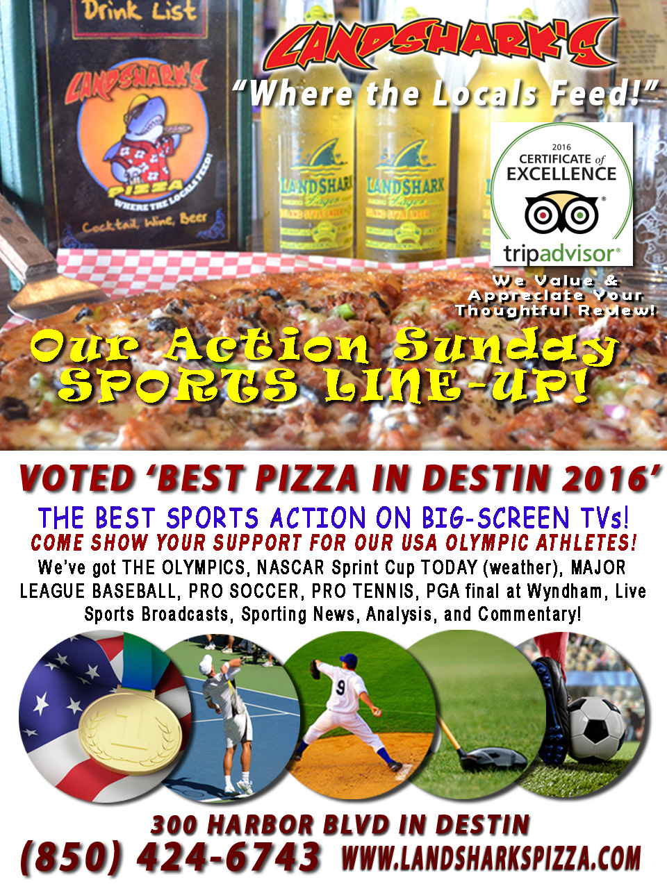 Sports TV Destin FL Sports Bar Landsharks Pizza Company