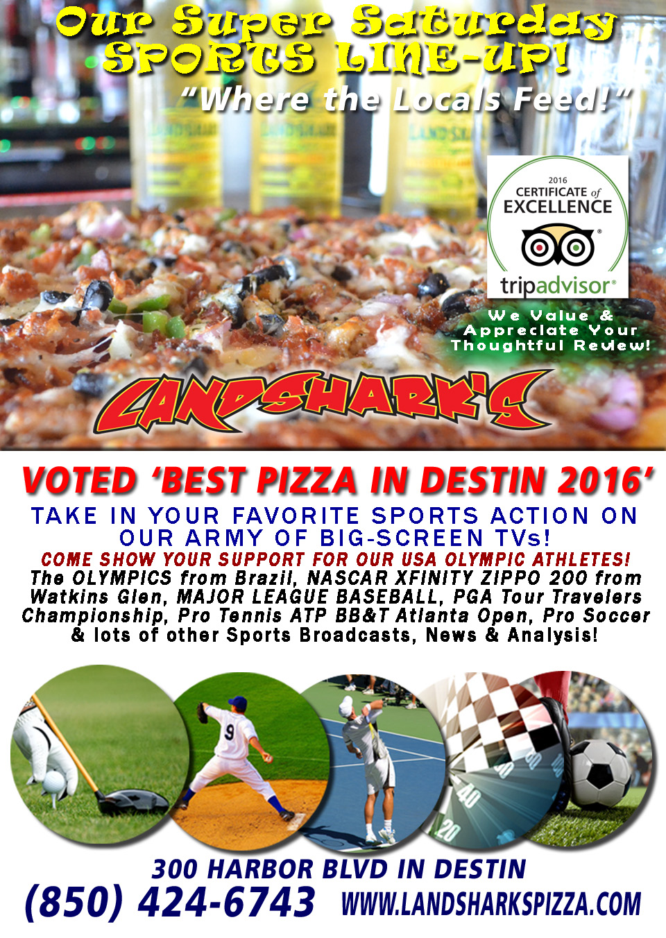 Sports TV in Destin FL at Landsharks Pizza
